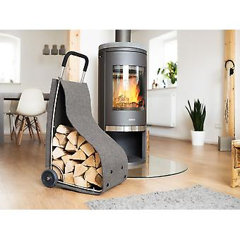 Felt trolley fire wood basket fireplace wood basket for wood storage newspapers utensils in the color grey