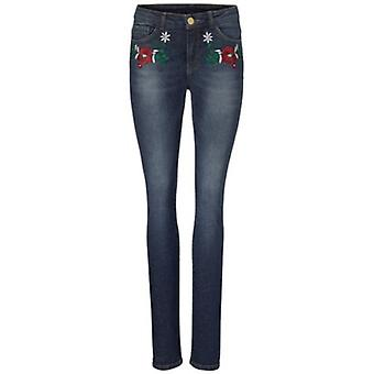 B.C.. best connections ladies of skinny jeans with floral embroidery blue