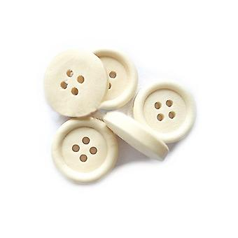 Packet 5 x Cream Wood 25mm Round 4-Holed Sew On Buttons HA10760