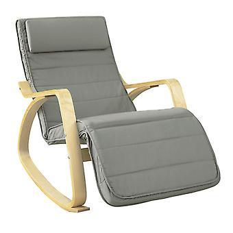 SoBuy Relax sedia a dondolo con poggiapiedi cuscino grigio FST16-DG