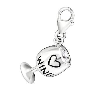 Wine Glass - 925 Sterling Silver Charms with Lobster - W11372X