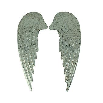 Rustic Galvanized Metal Rustic Angel Wings Wall Decor Set