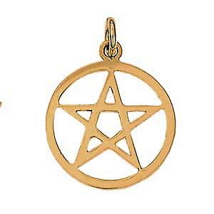 9ct Gold 23mm Pentangle in a circle pendant