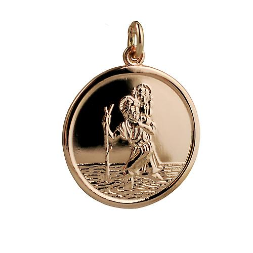 9ct Rose Gold 25mm round St Christopher Pendant
