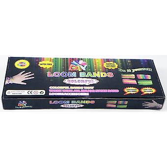 Loom Band Friendship Bracelet Kit - 600 Latex Free Band + 24 S-Clips + 1 Vävstol Board + 1 Krok