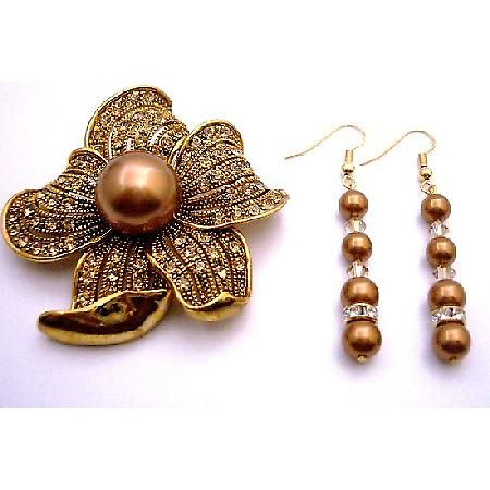 Copper Pearl With Gold Shadow & Gold Spacer Match Brooch Sunflower Golden Shadow Copper Pearl Holiday Gift