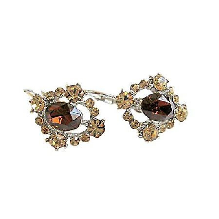 Light & Dark Smoked Topaz Crystals Silver Stud Pierced Fashion Earring