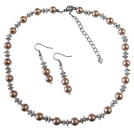 Prom Flower Girl Chinese AB Crystals & Champagne Pearls Necklace Set