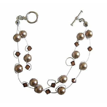 Double Stranded Bronze Pearls Swarovski Crystals & Pearls Bracelet