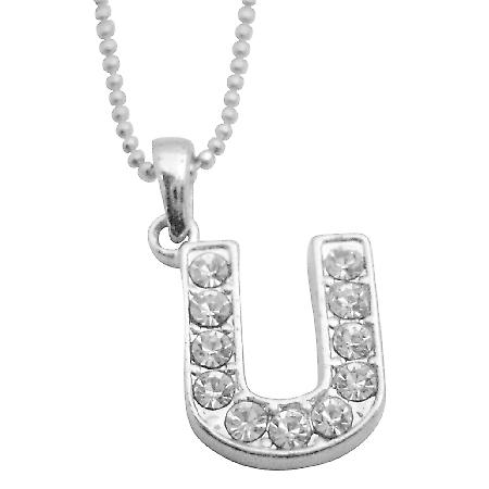 Cubic Zircon Alpahbet U Pendant Name Starting w/ U Pendant Necklace