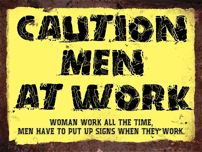 Vintage Metal Wall Sign - Men at Work