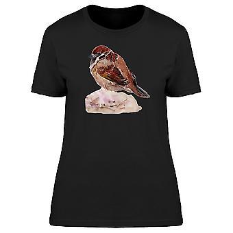 Spatz auf Rock T-Shirt Damen braun-Bild von Shutterstock
