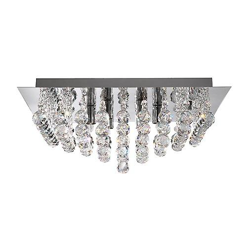 Searchlight 6408-8CC Hanna 8 Arm Chrome Square Flush Fitting With Crystal Balls
