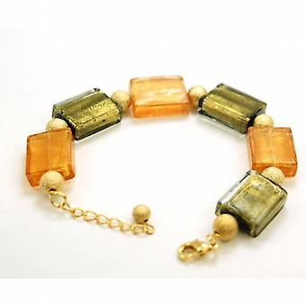 The Olivia Collection Ladies Goldtone Orange Oblong Glass Bead Bracelet