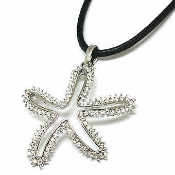 TOC Clear Rhinestone Set Open Starfish Pendant on 16