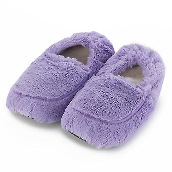 Ladies Cozy Body Microwavable Furry Slippers: Lilac
