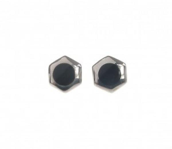Cavendish French Black Agate and Silver Hexagonal Stud Earrings