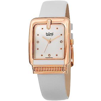 Burgi Women's BUR192 Quartz Diamond Marker Rectangle Case Leather Strap Watch BUR192WT