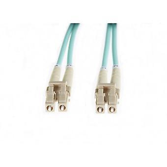Aqua Lc-Lc Om4 Multimode Fibre Optic Patch Cable