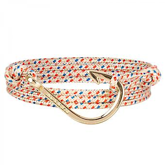 Holler Kirby  Gold Polished Hook / Gold, Red and Blue Paracord Bracelet HLB-04GDP-P06