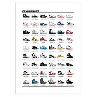 Art-poster 50 x 70 cm-legendariska sneakers-Olivier Bourdereau