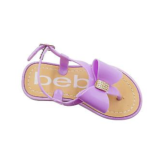 bebe Toddler Girls Jelly Thong Slingback Flat Sandal with Rhinestone Bow