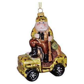 Santa Hunter with ATV Camo Gun Blown Glass Christmas Holiday Ornament Cape Shore