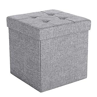 Linen bench/Pouf with storage-grey