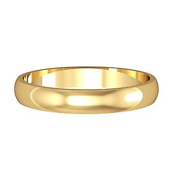 Jewelco London 9ct Yellow Gold - 3mm Essential D-Shaped Band Commitment / Wedding Ring