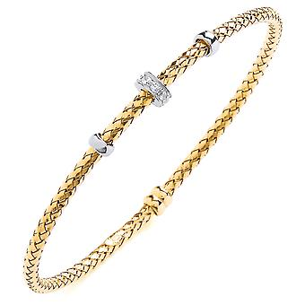 Jewelco London Gold-Plated Sterling Silver Round Brilliant Cubic Zirconia Pave Bead Basket Style Bangle Bracelet