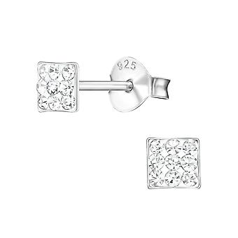 Square - 925 Sterling Silver Crystal Ear Studs - W21947X