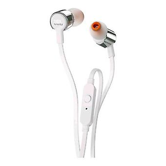 Jbl jblt210gry earphones with microphone cable 1.1 mt jack 3.5 mm color silver/white