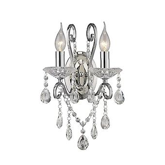 Diyas Vela Wall Lamp Switched 2 Light Polished Chrome/Crystal
