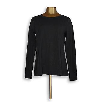 N'importe qui femmes-apos;s Top Cozy Knit Relaxed Peplum Black A297312