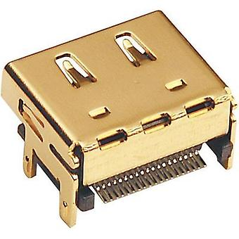 HDMI connector Socket, vertical vertical Number of pins: 19 Gold BKL Electronic 907008 1 pc(s)
