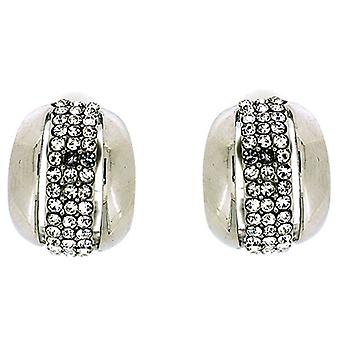 Clip On Earrings Store Shiny Silver and Three Row Crystal Semi Hoop Clip On Earrings