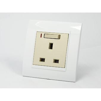 I LumoS AS Luxury White Plastic Arc Single Switched with Neon Wall Plug 13A UK Sockets