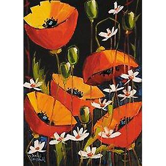 Daniel Campbell print - Red Poppies and Daisies