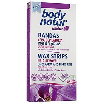 Body Natur Depilatory wax strips Ambar English & Armpits 12U