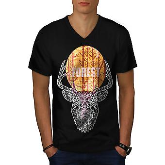 Forest Face Nature Animal Men Black V-Neck T-shirt | Wellcoda