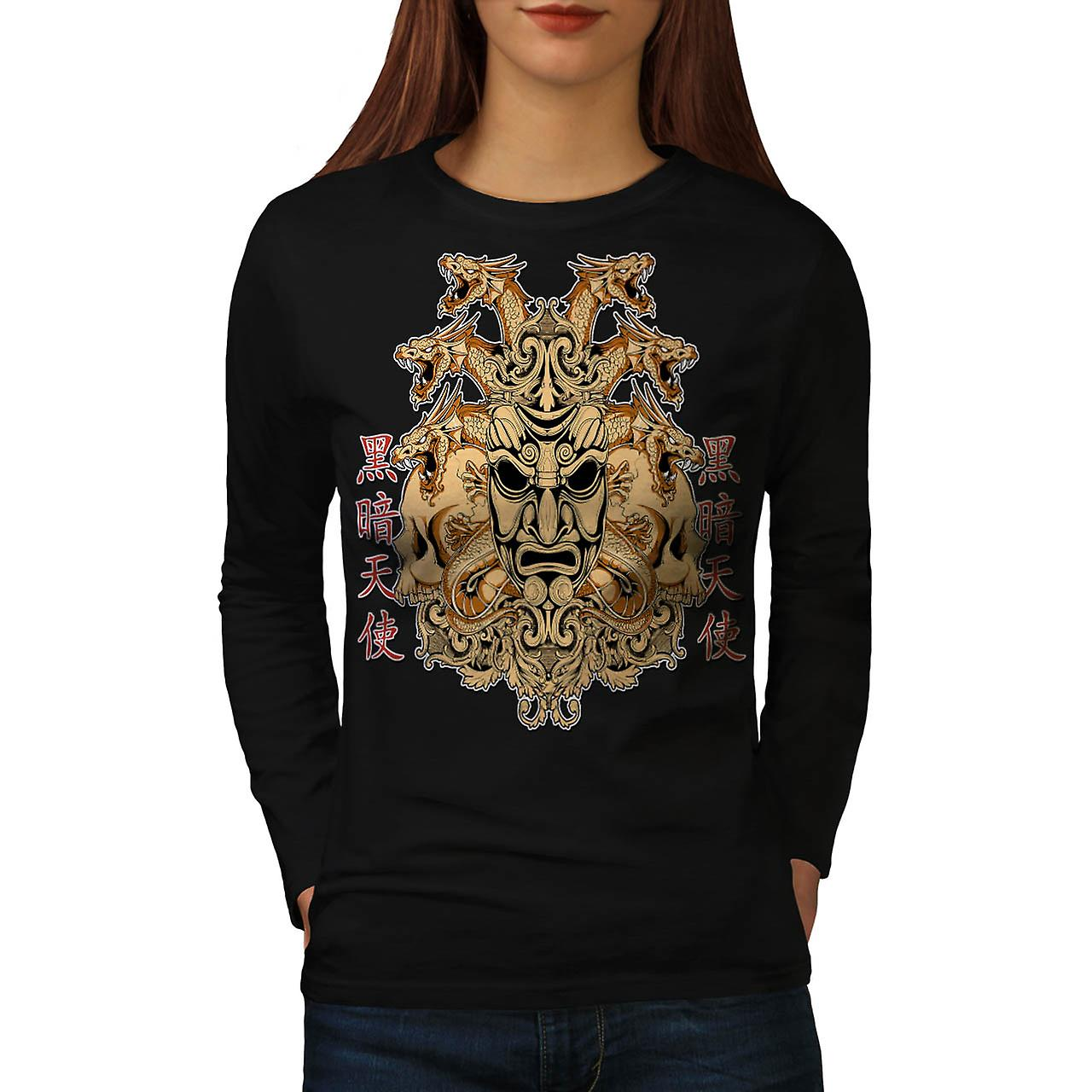 Chinese Parade Mask Horror Face Women Black Long Sleeve T-shirt | Wellcoda