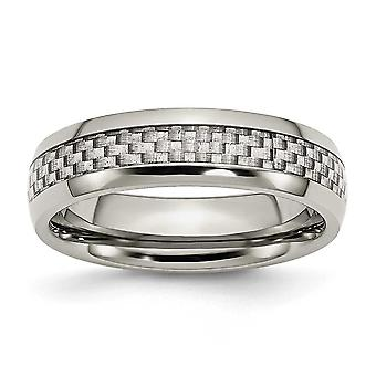 Stainless Steel Engravable and Grey Carbon Fiber 6mm Polished Band Ring - Ring Size: 6 to 13