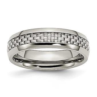 ステンレス彫刻用とグレー炭素繊維 6 mm 研磨バンド リング - 指輪のサイズ: 6 に 13