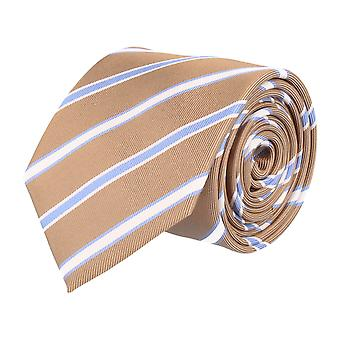 Pelo classic silk tie necktie silk brown - white blue striped