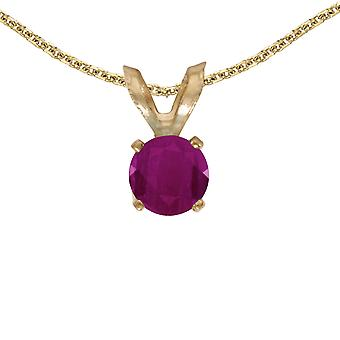 14k Yellow Gold Round Ruby Pendant with 18