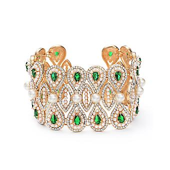14K Gold Plated Green Swarovski Elements Crystals And Simulated Pearl Cuff Bracelet, 16cm