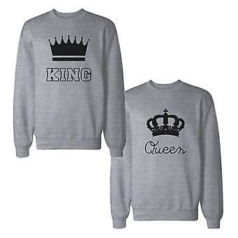 Kongen og dronningen med krone par Sweatshirts matchende trøjer