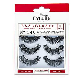 Eylure Exaggerate False Lashes Multipack - 140 Black (Adhesive Included) 3pairs