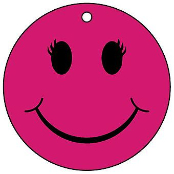 Pink Female Smiley Face Car Air Freshener