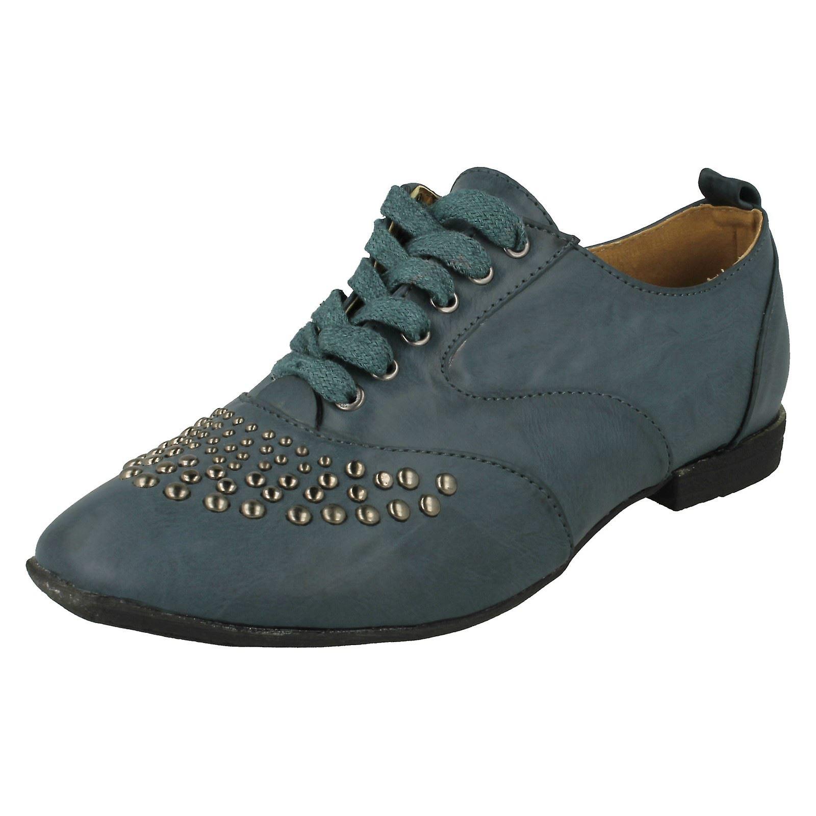Damen Anne Michelle Spitze flach Casual Schuh mit Metal Stud trimmen l4940